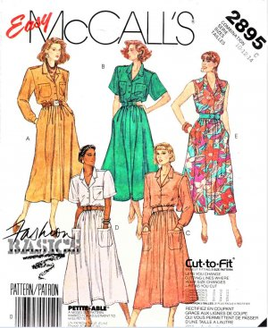 McCall's Sewing Pattern 2895 Misses Size 10-14 Easy Basic Shirt-Waist Button Front Bodice Dress
