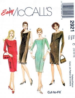 McCall&acirc;s Sewing Pattern 2921 Misses Size 10-14 Easy Straight Dress Sleeve Options Purse Bag