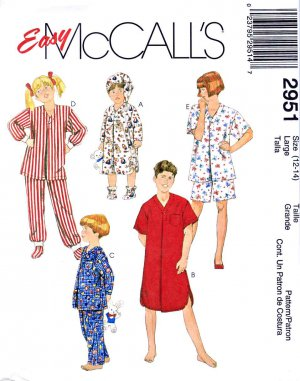 McCall&acirc;s Sewing Pattern 2951 Boys Girls Size 12-14 Easy Sleepwear Pajamas Nightshirt