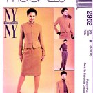 McCall's Sewing Pattern 2962 Misses' Size 8-12 NYNY Lined Jacket Straight Skirt Pants Suit