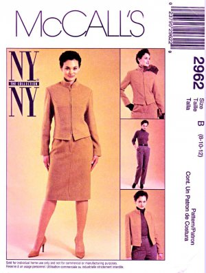 McCall�s Sewing Pattern 2962 Misses� Size 8-12 NYNY Lined Jacket Straight Skirt Pants Suit