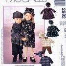 McCall's Sewing Pattern 2982 Girls Boys Size 1-3 Dress Zipper Front Jacket Pull-on Pants Hats
