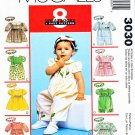 McCall's Sewing Pattern 3030 Infants' Girls Size 13-24# Easy Classic Rompers Dress Headband