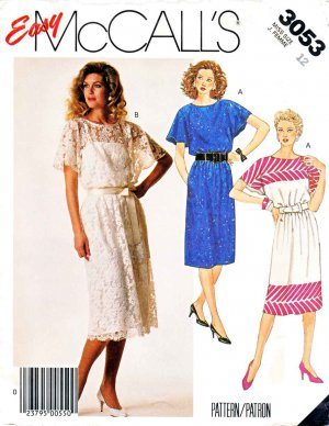 McCall�s Sewing Pattern 3053 Misses� Size 10 Easy Pullover Flared Sleeve Summer Dress Slip