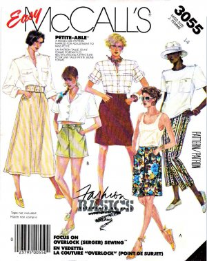 McCall&acirc;s Sewing Pattern 3055 Misses&acirc; Size 14 Easy Basic A-Line Skirt Cropped Capri Pants Shorts