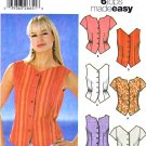 Simplicity Sewing Pattern 5555 Misses Size 8-10-12-14 Easy Button Front Top Shirt Blouse Vest