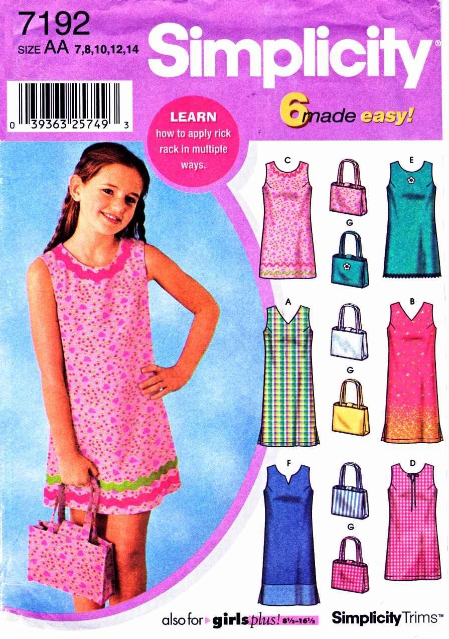 Simplicity Sewing Pattern 7192 Girls Plus Size 8 ½ - 16 ½ Easy Sleeveless Summer Dress Bag Purse