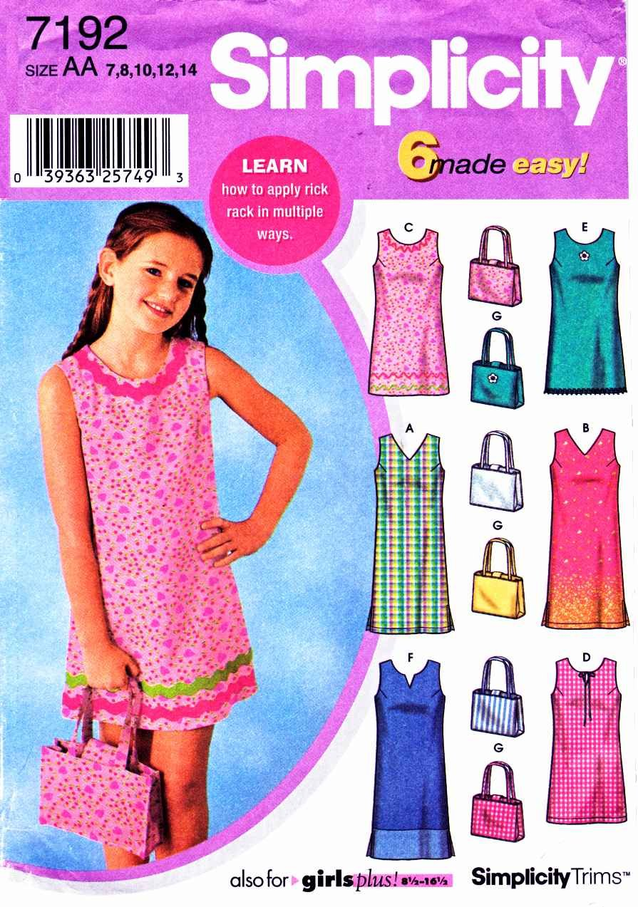 Simplicity Sewing Pattern 7192 Girls Size 7-14 Easy Sleeveless Summer Dress Bag Purse