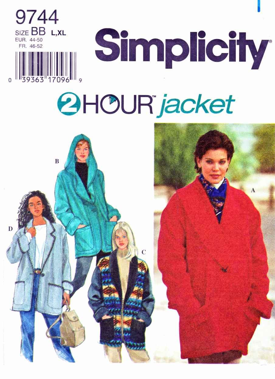 Simplicity Sewing Pattern 9744 Misses Size 18-24  Hooded Fleece Melton Jackets