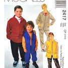 McCall's Sewing Pattern 2417 Boys Size 4-6 Unlined Zipper Front Hooded Jacket Vest Pull On Pants