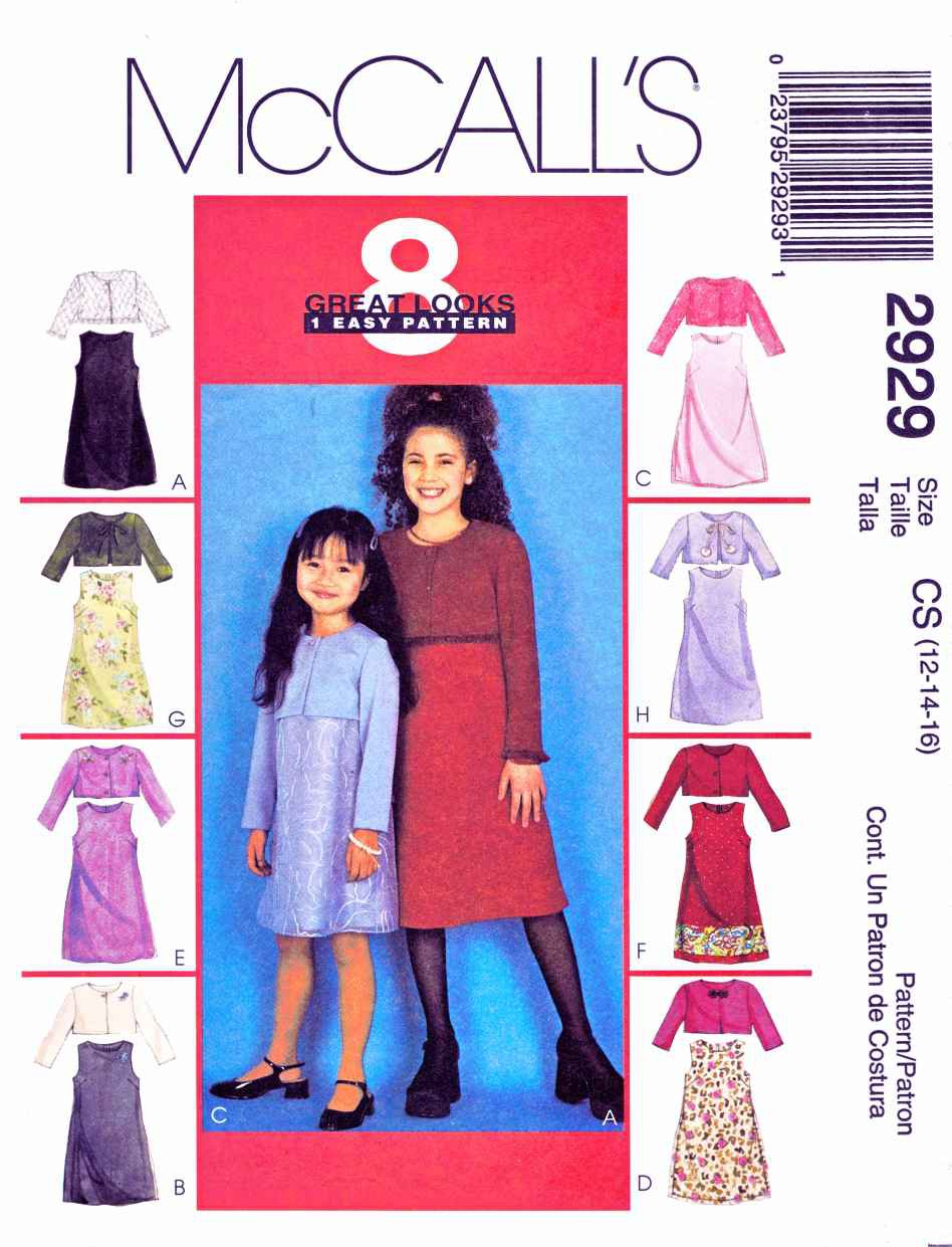 McCall's Sewing Pattern 2929 M2929 Girls Size 12-16 Easy Sleeveless Dress Jacket Bolero Shrug
