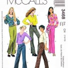 McCall's Sewing Pattern 3468 Girls Size 7-10 Low Rise Long Pants Pullover Long Sleeve Top