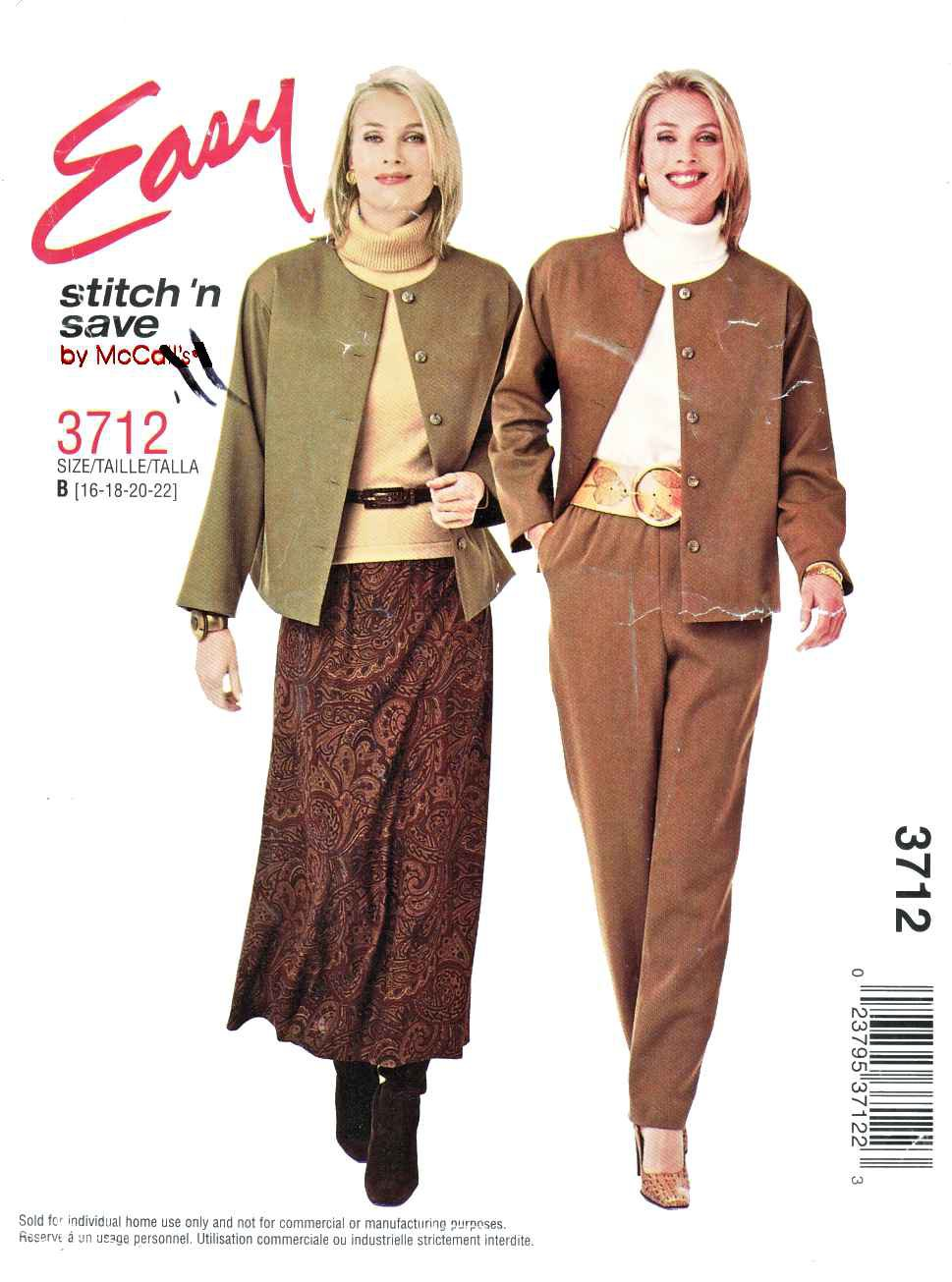 McCall's Sewing Pattern 3712 M3712 Misses Size 16-22 Easy Button Front Jacket Flared Skirt Pants