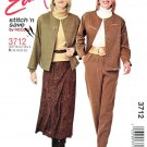 McCall's Sewing Pattern 3712 Misses Size 16-22 Easy Button Front Jacket Flared Skirt Pull On Pants