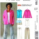 McCall's Sewing Pattern 4789 Misses Size 16-22 Workout Wardrobe Knit Vest Jacket Top Pants Shorts