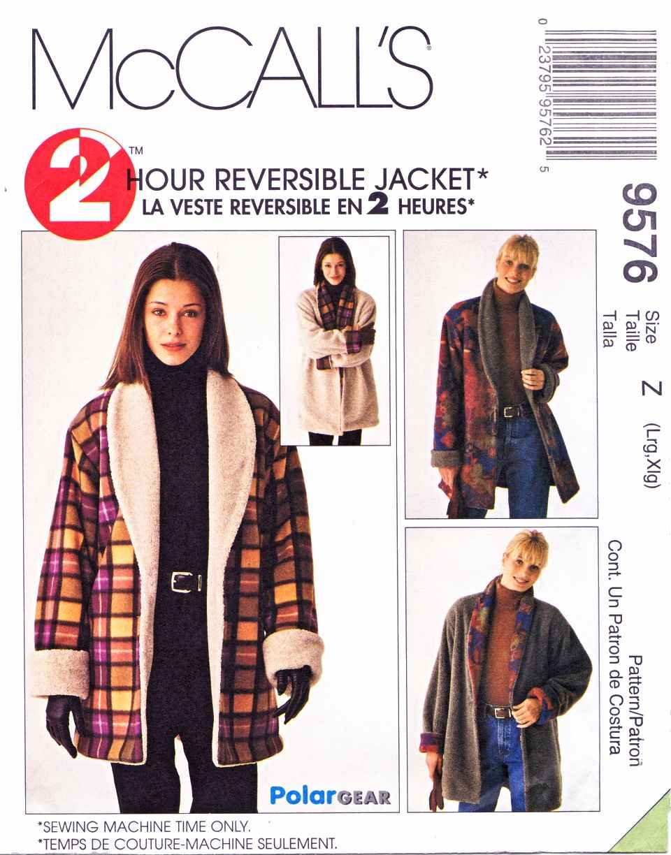 McCall's Sewing Pattern 9576 Misses Size 4-14 2-Hour Reversible Button Front Shawl Collar Jacket