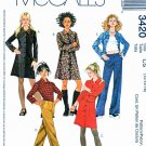 McCall's Sewing Pattern 3420 Girls Size 12-16 Low-Rise Pants Button Front Dress Shirt Long Sleeves