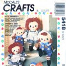 "McCall's Sewing Pattern 5418 702 Little Raggedys Ann Andy 12"" 16"" Stuffed Dolls Clothes"