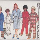 Butterick Sewing Pattern 6974 Girls Boys Size 7-10 Easy Classic Front Wrap Robe Pajama Top Pants