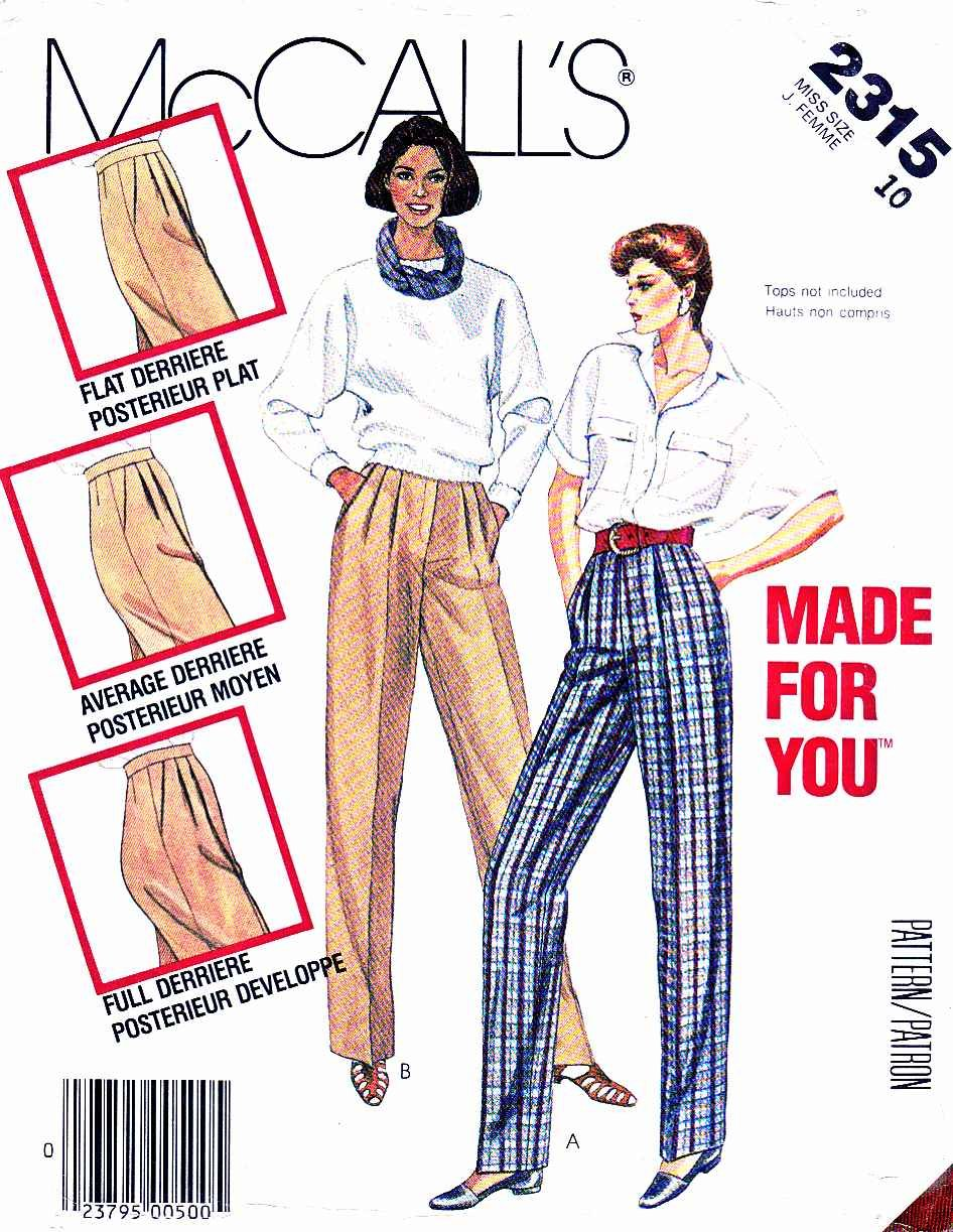 McCall�s Sewing Pattern 2315 Misses� Size 16 Long Pleated Front Fitted Pants Trousers