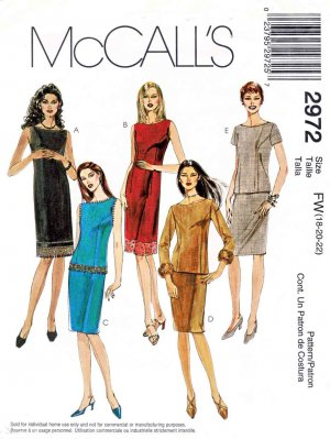 McCall�s Sewing Pattern 2972 Misses Size 8-12 Straight Dress Skirt Top Sleeve Options Sheath