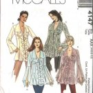 McCall's Sewing Pattern 4147 Misses Size 8-14 Button Front Tops Tunics Flounces Blouse
