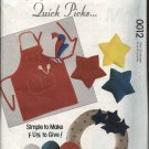 McCall's Sewing Pattern 0012 Quick Gifts Apron Hat Tie Dog Bed Star Pillows Log Carrier Oven Mitts