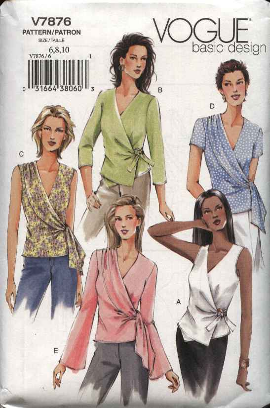 Vogue Sewing Pattern 7876 V7876 Misses Size 18-22 Basic Wrap Side Tie Blouse Sleeve Neck Options