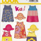 New Look Sewing Pattern 6281 Toddler Girls Size 1/2-4 Easy Sleeveless Dress Applique Hat