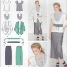 Simplicity Sewing Pattern 1920 Womens Plus Size 20W-28W Top Jacket Scarf Straight Skirt Belt