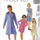McCall's Sewing Pattern 4292 Girls Size 12-16 Sleeveless Raised Waist Dress Spring Jacket Coat