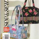 Butterick Sewing Pattern 4840 B4840 Easy Handbags Zipper Closure Side Pockets