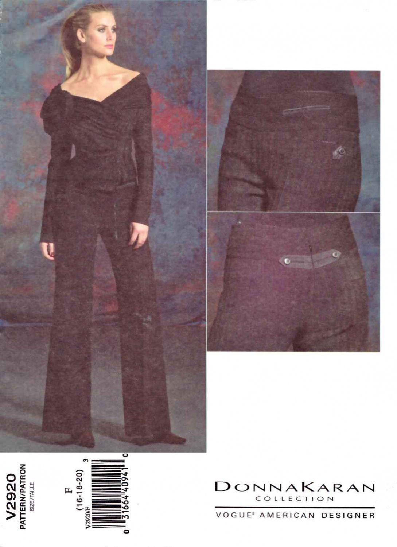 Vogue Sewing Pattern 2920 Misses Size 16-20 Donna Karan Knit Long Sleeve Jacket Pants Pantsuit
