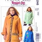 McCall's Sewing Pattern 5246 M5246 Misses Size 4-22 Button Front Fleece Jackets Flower Pin