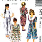 McCall's Sewing Pattern 5476 Girls' Size 7-10 Dress Jumpsuit Detachable Collars