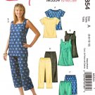 McCall's Sewing Pattern 5354 Misses Size 6-12 Easy Top Tunic Shorts Capri Cropped Pants