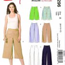 McCall's Sewing Pattern 5296 Misses Size 6-12 Easy No Waistband Shorts Gauchos Pants