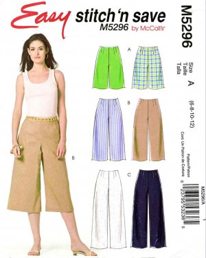 McCall�s Sewing Pattern 5296 Misses Size 14-20 Easy No Waistband Shorts Gauchos Pants