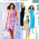 McCall's Sewing Pattern 3240 Misses Size 4-10 Long Short Straight Halter Neckline Dress