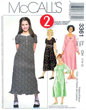 McCall�s Sewing Pattern 3361 Girls� Size 12-16 Raised Empire Waist Dress Sleeve Options