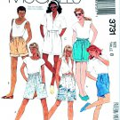 McCalls Sewing Pattern 3731 Misses Size 8 Pull-on Drawstring Pleated Waistband Shorts