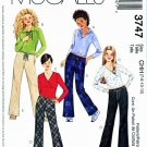 McCalls Sewing Pattern 3747 Girls Size 7-12 Pullover Knit Tops Hoodies Bell Bottom Pants