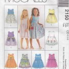 McCalls Sewing Pattern 2150 Girls Size 2-4 Sleeveless Dress Apron Pocket Options