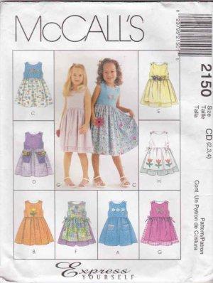 McCalls Sewing Pattern 2150 Girls Size 2-4 Sleeveless Dress Apron Pocket Options