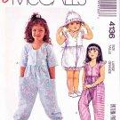 McCalls Sewing Pattern 4136 Girls Size 5-6 Easy Jumpsuits Romper Sunsuit Bonnet Hat