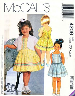 McCalls Sewing Pattern 4206 Girls Size 2-4 Lined Jacket Bolero Sundress Sleeveless Dress