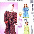 McCall's Sewing Pattern 4574 Girls' Size 3-6 Long Short Sleeve Dresses Jumpsuits