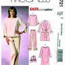 McCalls Sewing Pattern 4721 Misses Size 4-14 Easy Robe Top Pants Gown Pajamas Slippers
