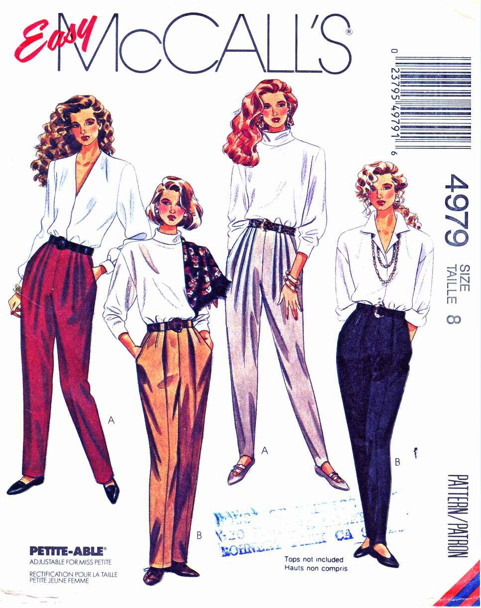 McCalls Sewing Pattern 4979 Misses Size 8 Easy Tapered Stirrup Pants Leggings