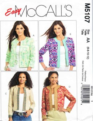 McCalls Sewing Pattern 5107 M5107 Misses Size 6-12 Easy Cropped Jackets Contrast Bands